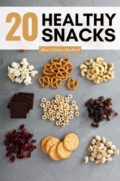 Tips for buying healthy store bought snacks for kids and adults as part of a balanced diet or for weight loss. A list of the top healthy packaged choices. #momskitchenhandbook #healthysnacksforkids #healthysnacks #snackideas #groceryshopping