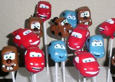 mater, lightening and sally cake pops...link to tutorial http://www.facebook.com/media/set/?set=a.317112318301940.86030.151065294906644&type=3