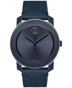 Extraordinary navy blue tones dominate in monochromatic leather and stainless steel on this Bold watch designed by Movado. | Blue leather strap | Round black TR90 and stainless steel case, 42mm | Navy