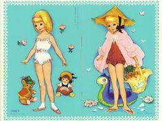 Sammelleidenschaft Diese zwei Hefte erschienen 1977 im Carlsen Verlag und waren in Dänemark, Schweden und Deutschland erhältlich. Sie wurden von Iben Clante (1911-1985) illustriert, die für den Verlag auch zahlreiche Bögen mit Ankleidepuppen gemalt hat.  Zu dieser Serie gehören 4 Hefte mit jeweils einem Mädchen. Abgebildet sind zwei Hefte der kleinen Serie 3040/1-4. Es gab die Heft auch in größerer Ausführung (Din A4).