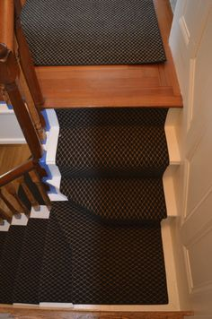 Custom fabricated stair runner installed in Watertown, Ma . http://carpetworkroom.com