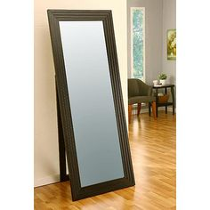 Furniture of America Parkers Slatted Cappuccino Cheval Mirror