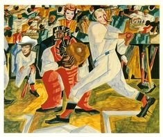 """""""Strike"""" by Jacob Lawrence 1949 . African American Artist, American Artists, African Art, Baseball Painting, Baseball Art, Social Realism, Black Artists, Cubism, Norman Rockwell"""