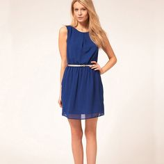 Only $13.99 Women,Summer,Chiffon,Patchwork,Formal Elegant,With Belt,Party Dresses