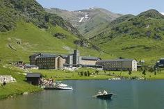 Vall de Nuria  In the oriental pyrennes. The monastery is located in the center of the valley creating a snapshot.
