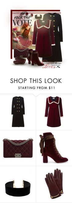 """Rock the Vote - Velvet Love"" by giovanina-001 ❤ liked on Polyvore featuring Dolce&Gabbana, Yves Saint Laurent, Chanel, Chloé, LULUS, Mulberry and WALL"