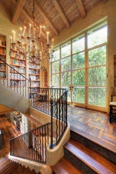 Staircase, windows, books