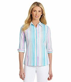 Allison Daley Watercolor Striped Woven Shirt #Dillards