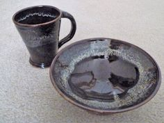 "By Shelley Duncan. Stoneware breakfast set(mug and cereal bowl) glazed in ""Coffee brown"" with rim dipped in ""Spearmint"""