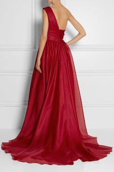 Marchesa|One-shoulder draped silk-gazar gown|NET-A-PORTER.COM