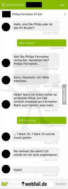 Kleinanzeigen: Der Flachwitzprofi | Webfail - Fail Bilder und Fail Videos Funny Messages, Fails, Lol, Humor, Memes, Videos, Funny Stories, Funny Stuff, Funny Pics