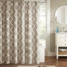 Madison Park Essentials Merritt Printed Shower Curtain In Taupe