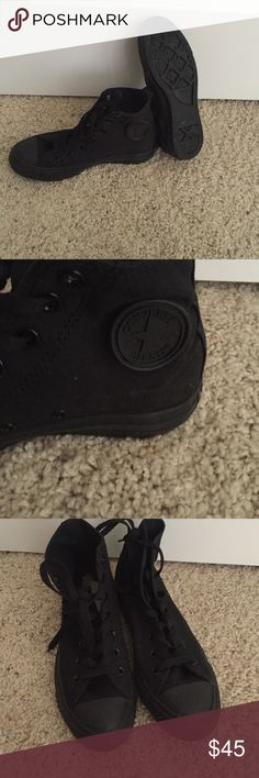 All black high top converse BRAND NEW NEVER worn, I bought the wrong size & threw away tags so I can't rent urn them. They smell just like new Converse Shoes Sneakers