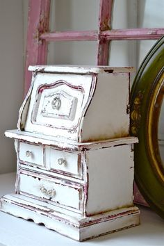 Vintage Music Box Jewelry Dresser Shabby Chic Armoire French Cottage