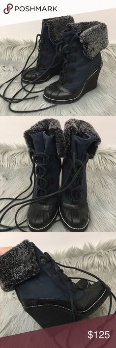 NEW Tory Burch fairfax wedge boots Brand new never worn! No box. Real dyed lamb fur Tory Burch Shoes Ankle Boots & Booties