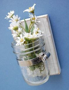 French cottage Shabby Chic wall vase glass jar cottage decor handmade. This would look so nice on a deck.