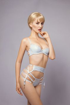 E.L.F Zhou London // Mirage - Suspender - 80 GBP, Strappy Thong - 80 GBP with Demi Push-Up Bra - 135 GBP (S/M/L)
