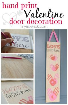 Valentine's Front Door Decor - Easy tutorial that shows you how to transfer a design onto wood, then use paint to fill it in and add your family's hand prints.