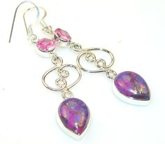 $30.21 Copper Turquoise Sterling Silver earrings at www.SilverRushStyle.com #earrings #handmade #jewelry #silver #turquoise