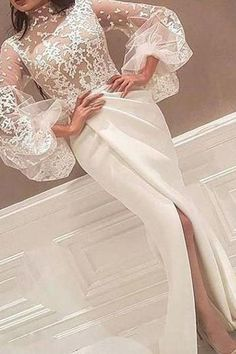 Sheath High Neck Prom Dresses,Long Sleeve Lace Appliques Ivory Wedding Dresses,Elegant Princess Long on Luulla Prom Party Dresses, Party Gowns, Bridal Dresses, Hijab Dress Party, Unique Dresses, Elegant Dresses, Formal Dresses, Prom Dresses Long With Sleeves, Lace Evening Dresses