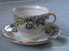 Colclough Tea Cup and Saucer by BullwinklesAttic on Etsy