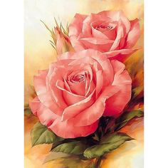 Cheap Diamond Painting Cross Stitch, Buy Directly from China Suppliers:Golden panno DIY Diamond Painting Square Diamond Pink Rose Flower, Red Flowers, Beautiful Flowers, Yellow Roses, Cross Stitch Rose, Cross Stitch Flowers, Pink Drawing, Drawing Flowers, Diy Gifts For Mothers