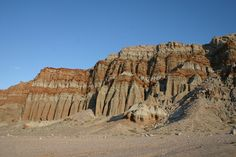 Stunning geology and iron oxide and sedimentary stratification in Red Rock Canyon State Park, in the northern Mojave Desert of California