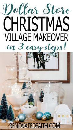 """You won't believe the before photo!  This easy step-by-step tutorial and video shows you how to give your Christmas village or nativity scene display a makeover with paint and a little clear glitter. This vintage village makeover can also work on a nativity set, no matter the colors.  Included are display ideas to give it a """"wood and white"""" look. Thrifted Christmas Village Makeover Makeover.  Dollar Store Elegant Christmas Decor, Coastal Christmas, Simple Christmas, Christmas Diy, Vintage Christmas, Christmas Village Display, Christmas Villages, Christmas Tree Decorations, White Nativity Set"""
