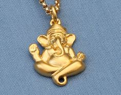 Gold Ganesh Necklace24K Gold Vermeil by MichelePosterJewelry