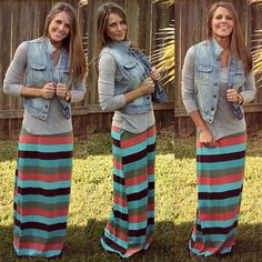 LOVE this look.T-shirt; Denim vest; Striped maxi skirt; Need to buy a vest ad t-shirt to match skirt