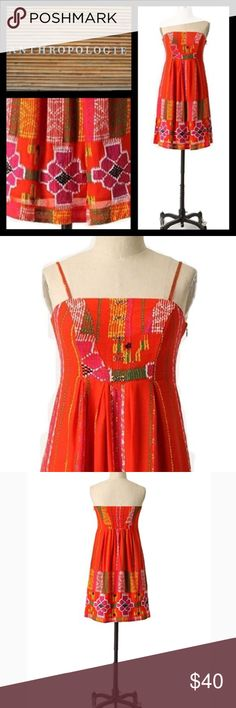 """Anthropologie We Love Vera """"Valencia Dress"""" Orange This bright dress has the most amazing details. Beautiful embroidered flowers and designs cover the bright orange/red dress. In excellent pre-loved condition! Anthropologie Dresses"""