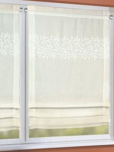 Bezaubernd schöner, mit Blättern bestickter Raffrollo im Landhausstil. Einfach über die Gardinenstange ziehen und schon ist Ihre neue Fensterdekoration fertig. Maße: ca. 120 x 60 cm (HxB)