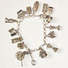 Art Deco Sterling Asian Charm Bracelet, 16 Charm, Geisha, Lantern, Bird in Cage
