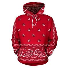 Bandana Print Pullover Hoodie, All Sizes, Red, Red Bandana Shoes, Bandana Outfit, Air Force One Shoes, Nike Air Force Ones, Pullover Hoodie, Red Hoodie, Bandanas, Custom Converse Shoes, Nike Shoes