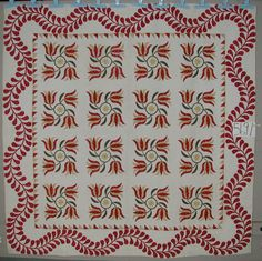 That border!  Windblown Tulips with Feathered Border  1875-1890  New England Quilt Museum