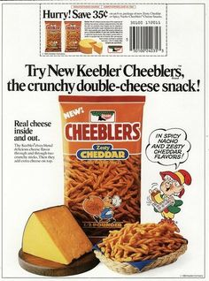 Keebler - Cheeblers cheese snacks - newspaper circular ad and coupon - 1984 Retro Recipes, Vintage Recipes, 1980s Food, Discontinued Food, Vintage Ads, Vintage Food, Retro Ads, Vintage Images, Cheese Snacks