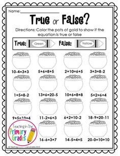 St. Patrick's Day First Grade Activities - Your first graders will love to review math and literacy concepts with these fun St. Patricks Day themed printables. These worksheets are Common Core Aligned. Your students will review true/false equations along with other math and literacy concepts. I print them off and staple the into a packet to use for fast finishers.