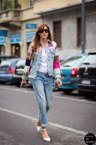 Ece Sukan after Etro fashion show. Shop this look (or similar) here: Jacket: House of Holland Denim Jacket in Embellished Lipstick Print // ASOS Denim Boyfriend Jacket with Embellished Sleeve Jeans: New Look Girlfriend Jean Shirt: Warehouse Relaxed White Shirt Shoes: JASON WU Leather sandals