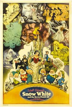 """""""Snow White and the Seven Dwarfs"""" 1937 Disney illustration concept art by Gustaf Tenggren for the original movie poster"""