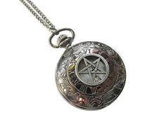 Supernatural Pentagram Pocket Watch Necklace, Pagan Pocket Watch Jewelry, Wiccan…