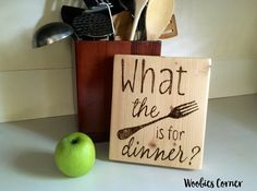 Rustic kitchen decor, Funny Kitchen signs, What the fork is for dinner, Wooden kitchen sign, Kitchen sign decor, Kitchen sign wood