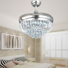 42 Inch Chrome Modern LED Crystal Ceiling Fans With Lights Remote Control Living Room Bedroom Home