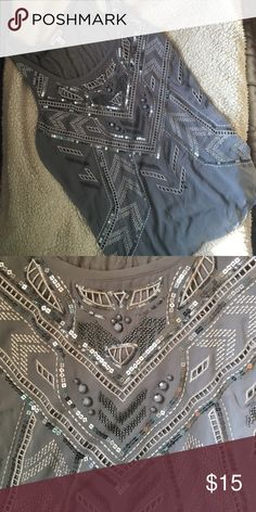 Grey embellished tank top Great condition , no rips, tears or missing beading. Great for layering ! Lined Express Tops Tank Tops