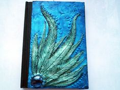 Polymer clay journal / blue diary / blue notebook / blue / feathers / pattern diary / wings / fantasy journal / art
