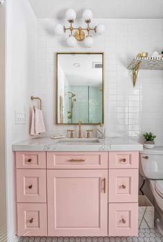 pink bathroom If youre going to bring in colors, you might as well make them pastels; pink or green are big favorites. There is nothing more Housewife than a baby pink vanity table. Its not only feminine, but its authentic to the period. Bathroom Inspo, Bathroom Inspiration, Boho Bathroom, Cute Bathroom Ideas, Bathroom Vintage, Industrial Bathroom, Vintage Vanity, Bathroom Styling, Mid Century Modern Bathroom