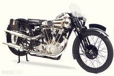 "'new' Brough Superior.Brit (living in Austria) owns rights to these and has begun (very limited) production of the ""Rolls Royce of motorbikes"". British Motorcycles, Vintage Motorcycles, Enjoy Car, Vintage Classics, Classic Bikes, Classic Cars, Motorcycle Art, Vintage Bicycles, Cool Bikes"