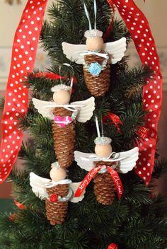 Engel aus Pinienzapfen für den Weihnachtsbaum basteln