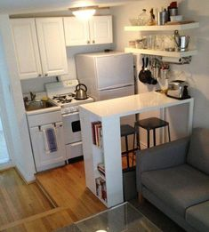 46 cute and small kitchen design ideas. Small kitchen design ideas should be ways you come up with to save as much. Small Space Kitchen, Small Spaces, Small Kitchens, Open Spaces, Kitchen Dining Living, Small Dining, Studio Kitchen, Small Apartment Decorating, Apartment Ideas