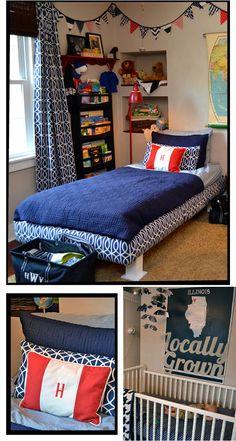 A preppy bedroom redux....great boy pattern.