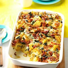 Smoked Gouda & Swiss Chard Strata Recipe -I shared this impressive strata with friends at their new home. For your special occasions, change up the veggies and cheese. I've used tomatoes, spinach and cheddar. —Kim Forni, Laconia, New Hampshire